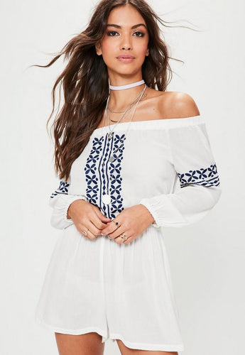 09d41f1ea9 White Cheesecloth Embroidered Bardot Playsuit
