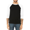 White/Black 3/4 Sleeve Baseball Tee