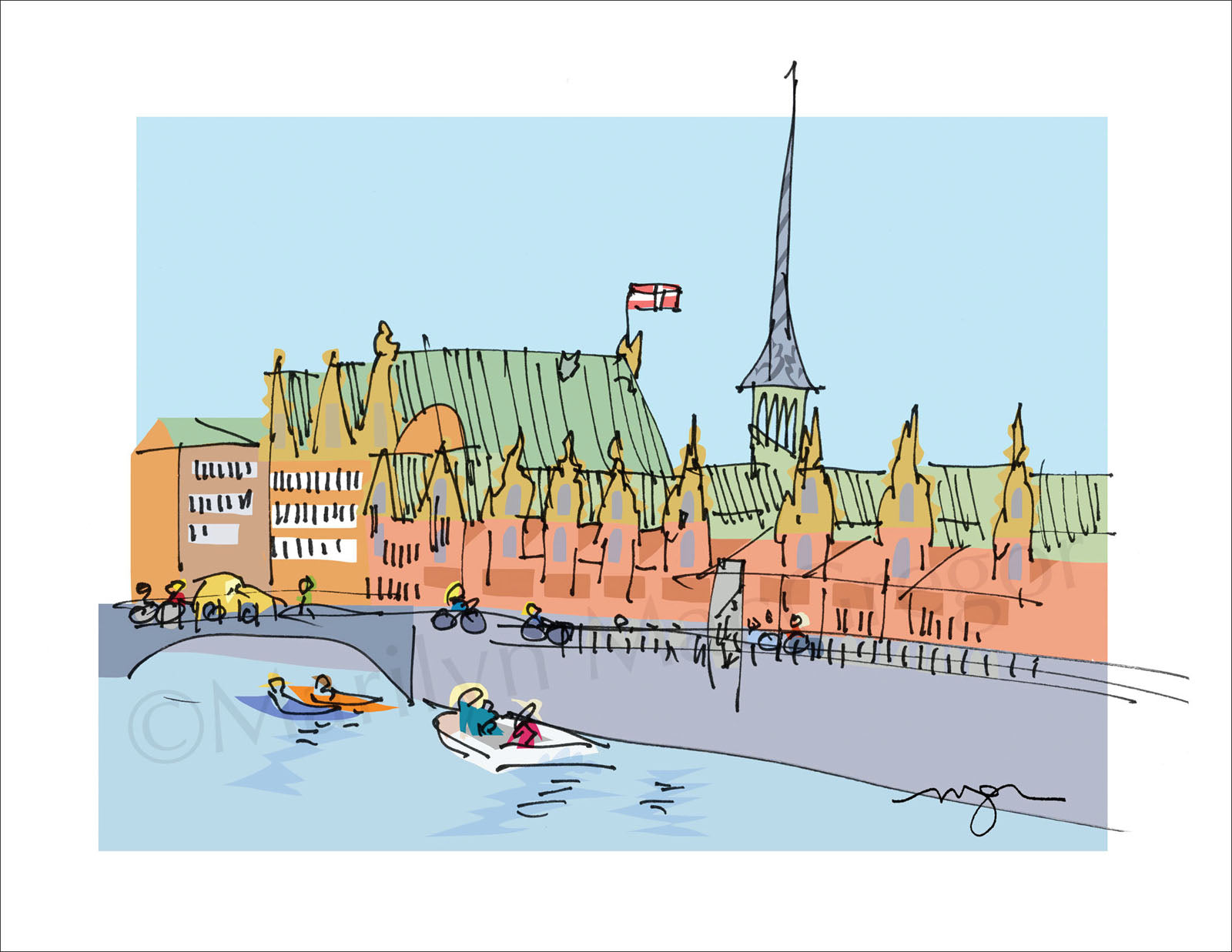 Copenhagen, Denmark: Canal Cruise Art Print in 3 sizes