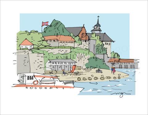 Olso, Norway: Harbor View Art Print in 3 sizes