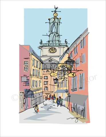 Stockholm, Sweden: Old Town Street Art Print in 3 sizes