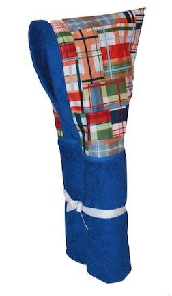 Madras Patchwork Plaid Azure Blue Hooded Towel