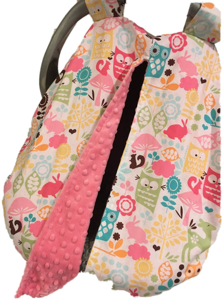 Watermelon Wildlife Car Seat Kover with Pink Minky Interior