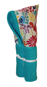 Splash Flowers Aqua Hooded Towel