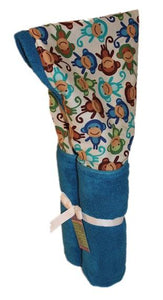 Blue Monkeys on an Azure Blue Hooded Towel