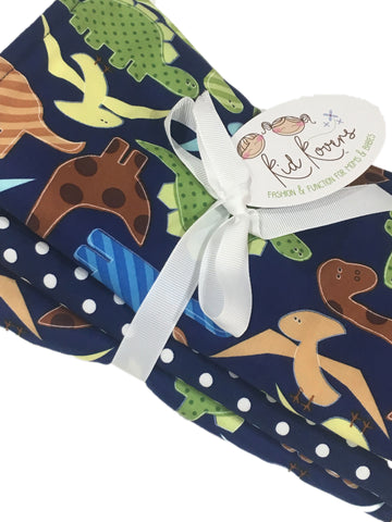 "Jurassic Dinos and Navy Dot, Set of 3 Burp Cloths, 10x20"" absorbent cotton Terry cloth."
