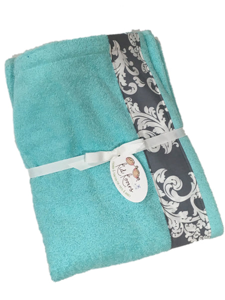 Grey Swirl Tiffany Aqua Towel Wrap