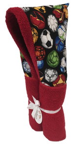 Soccer Fun Red Hooded Towel