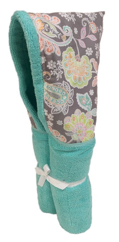 Jolie soft grey and pastel floral and paisley Tiffany Hooded Towel