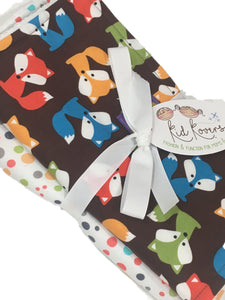 "Foxes with Nature Dots. Set of 3 Burp Cloths. 10x20"" absorbent cotton Terry cloth"