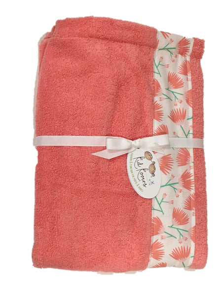 Tumbling Blooms Coral Pink Towel Wrap, Personalization available