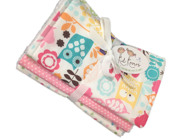 "Watermelon Wildlife, pastel dot and pink dot, Set of 3 Burp Cloths, 10x20"" absorbent cotton Terry cloth."