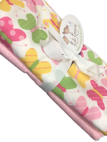 "Sweet Butterfly and Pink Dot, Set of 2 Burp Cloths, 10x20"" absorbent cotton Terry cloth."