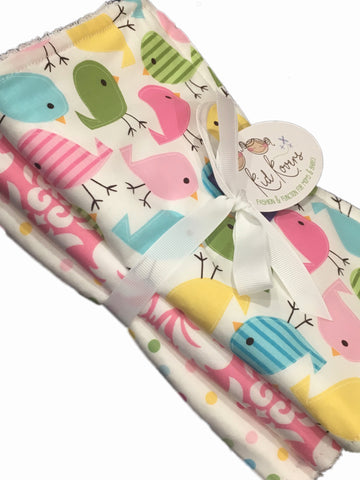 "Cute Birds, Pink Damask & Pastel Dots. Set of 3 Burp Cloths. 10x21"" absorbent Terry cloth cotton."