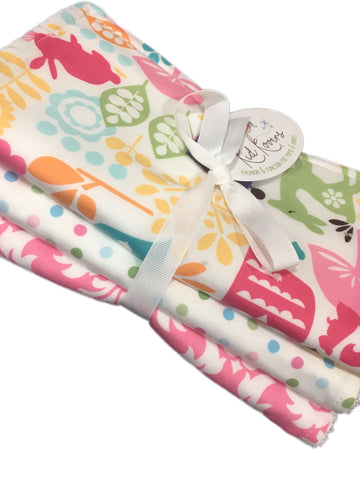 Watermelon Wildlife, Pastel Dots, and Pink Damask. Set of 3 Burp Cloths. Absorbent cotton Terry cloth. 10x20""