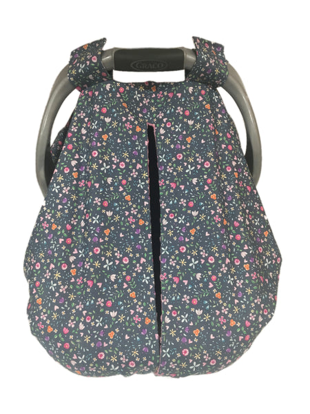 Grey Bitty Blooms Car Seat Kover with Pink Minky Interior