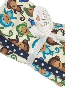 "Cute Blue Monkeys 2 and 1 white and navy dot burp cloth. Set of 3. 10x20"" absorbent cotton Terry cloth."