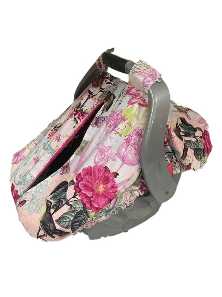 Belle Rose Car Seat Kovers with Fuchsia Minky Interior