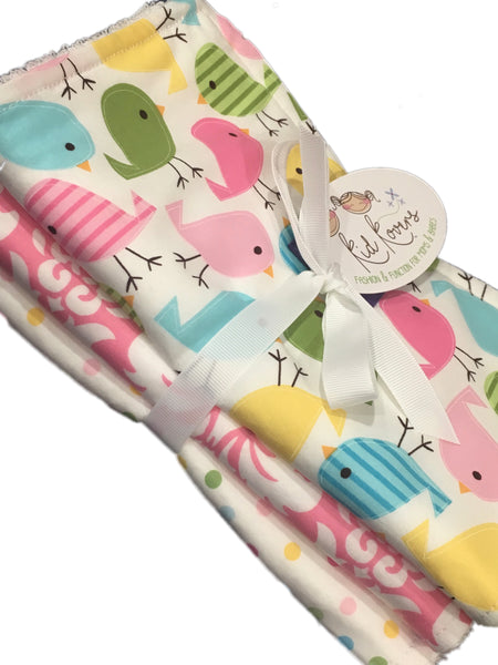 Cute Birds, Pink & White Dots and Damask. Set of 3 Burp Cloths