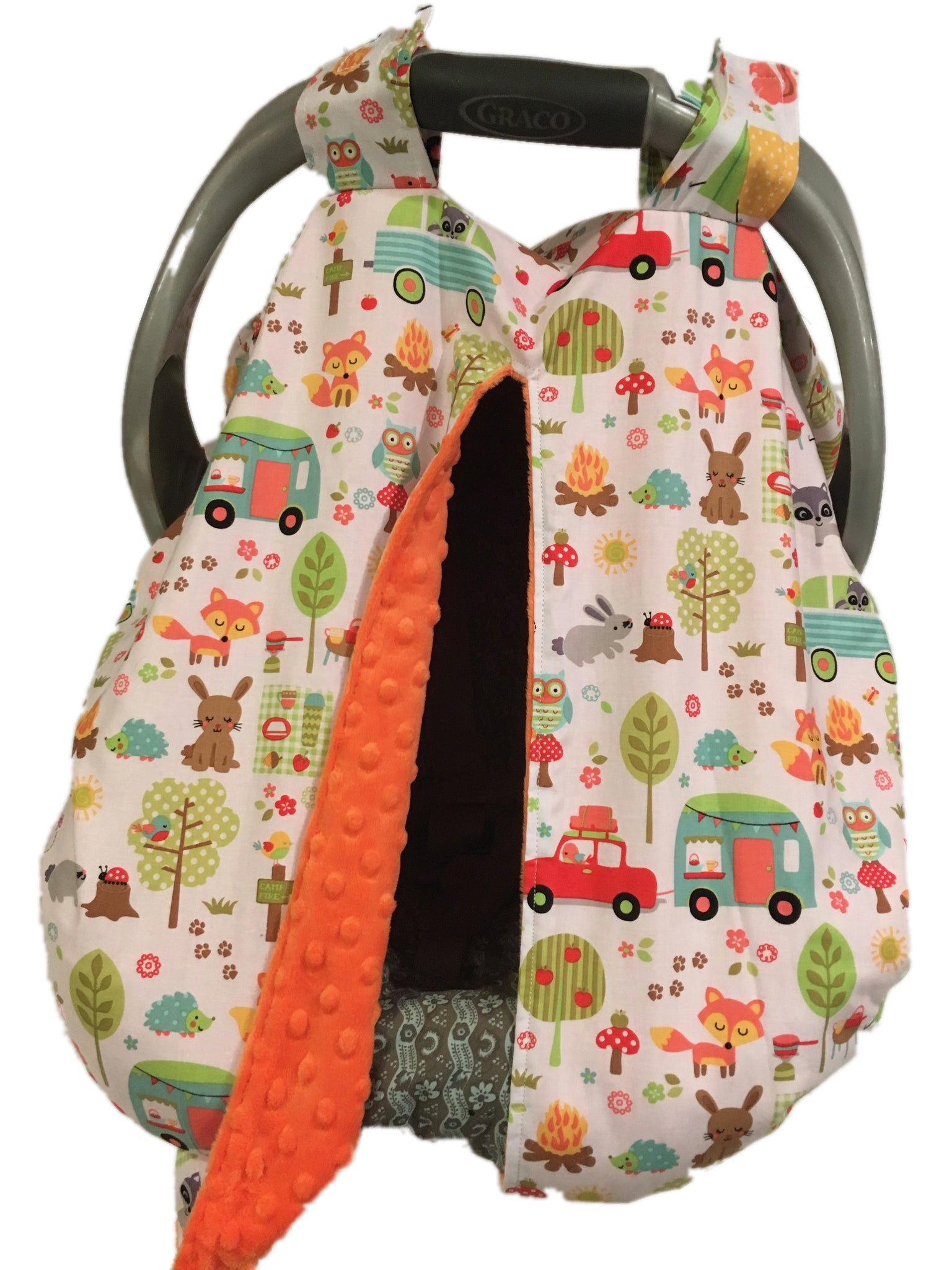 Camping Trip Car Seat Kover with Orange Minky Interior