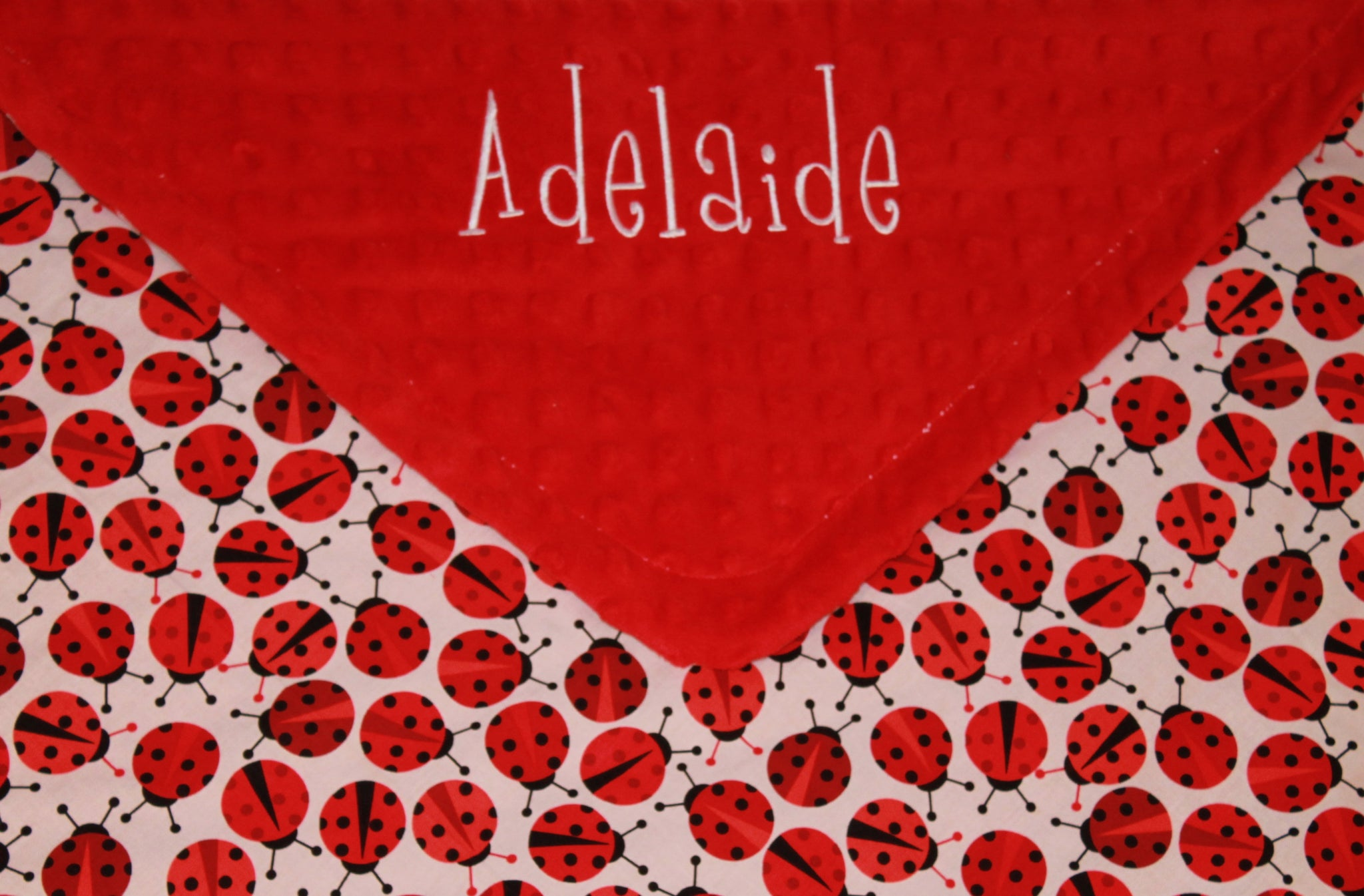 Red Ladybug on Red Minky, Baby Blanket