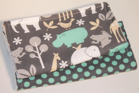 Sea Zoology & Aqua Ta Dots. Set of 2 Burp Cloths