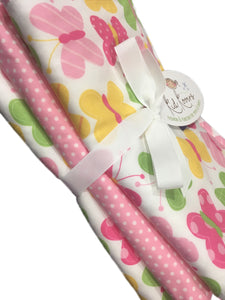 "Sweet Butterfly & pink dot burp cloth set of 3. 10x20"" absorbent cotton Terry cloth."