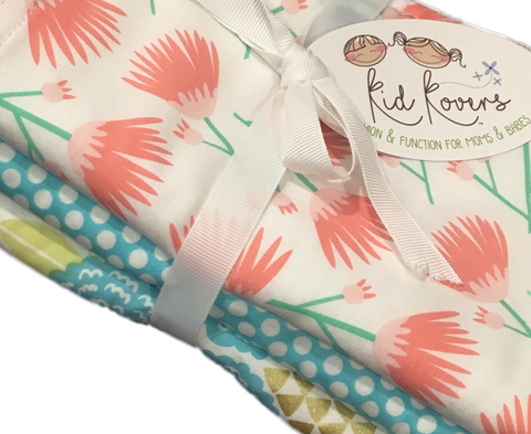 "Tumbling Blooms, Aqua Dot and Julianne, Set of 3 Burp Cloths, 10x20"" absorbent cotton Terry cloth."