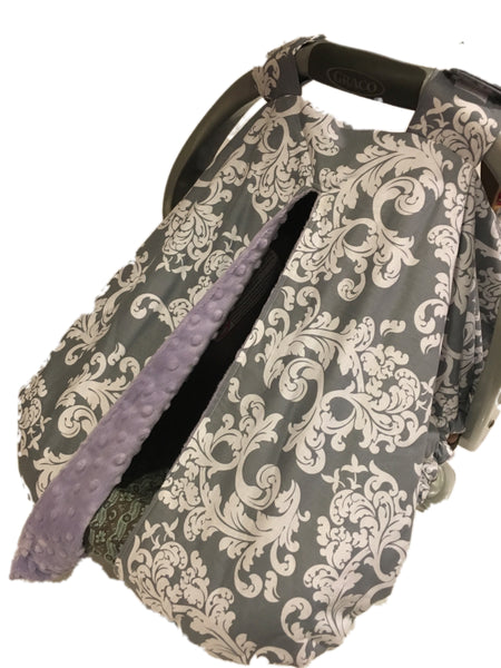 Grey Swirl Car Seat Kover with Lavender Minky Interior