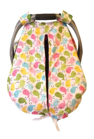 Cute Birds Car Seat Kover with Pink Minky Interior