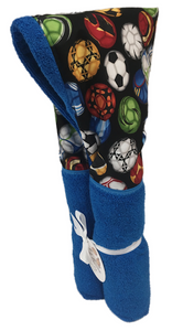 Soccer Fun Azure Blue Hooded Towel