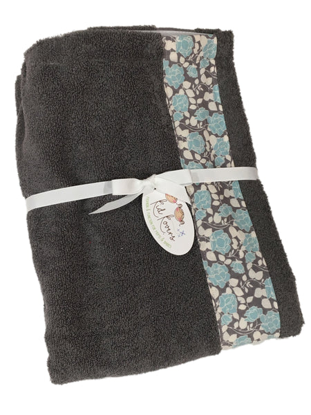 Teal Bouquet on Charcoal Towel Wrap, Personalization available