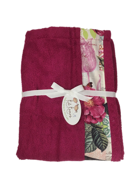 Belle Rose Fuchsia Towel Wrap, Personalization available