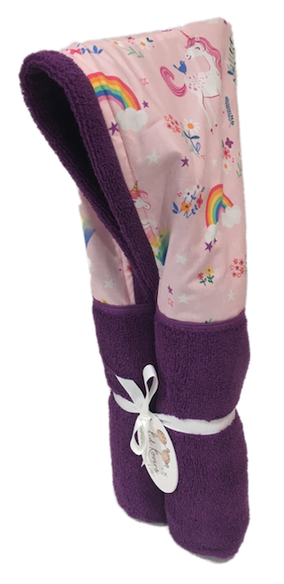 Happy Unicorns and Rainbow Violet Hooded Towel