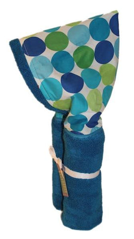 Blue Disco Dots on Azure Blue Hooded Towel