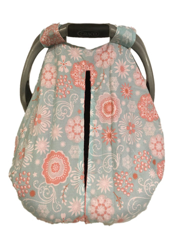 Teal and Coral Floral Car Seat Kover with Coral Minky Interior