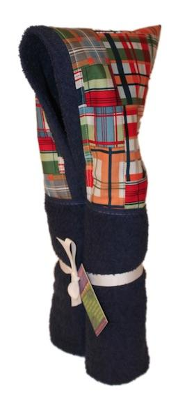 Madras Patchwork Plaid Navy Blue Hooded Towel