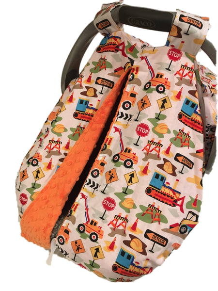 Construction Car Seat Kover with Orange Minky Interior