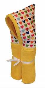 Hearts on Yellow Hooded Towel