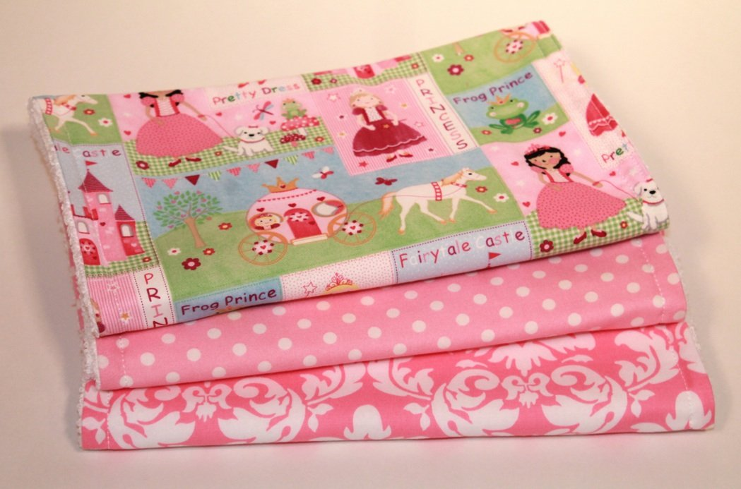 Fairytale Princess, Pink Dot & Damask.  Set of 3 Burp Cloths