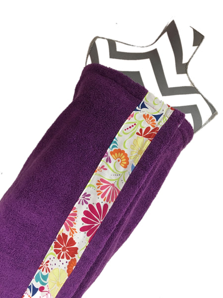 Splash Flowers on Dark Purple Towel Wrap, Personalization available