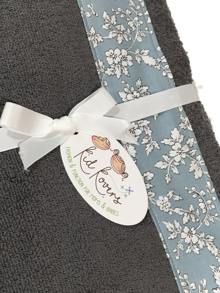 Wedgewood Light Blue Floral and Charcoal Grey Towel Wrap, Personalization available