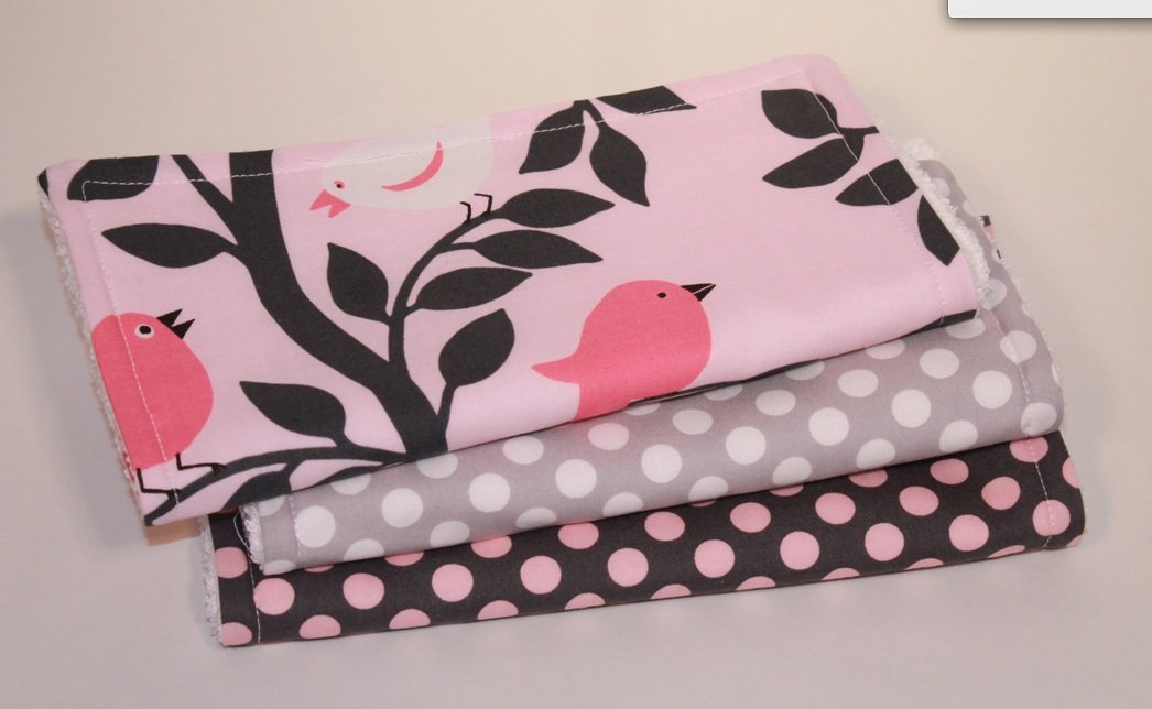 Pink Tweetie Pie, Grey & Pink Ta Dot. Set of 3 Burp Cloths