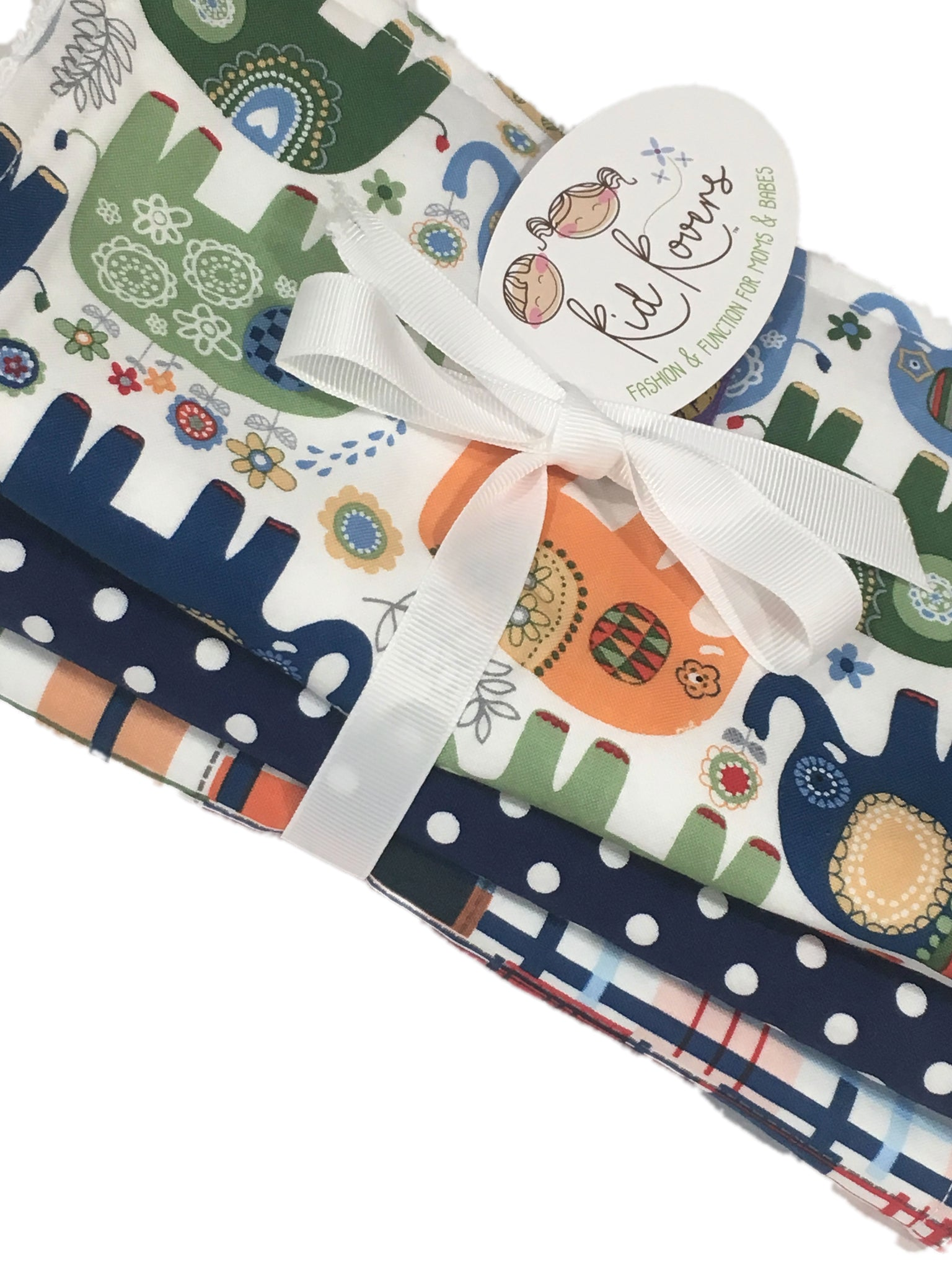 "Blue Happy Elephant, Navy Dot, and Madras, Set of 3 Burp Cloths, 10x20"" absorbent cotton Terry cloth."
