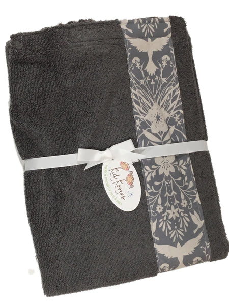 Silhouette Birds Charcoal Grey Towel Wrap, Personalization available