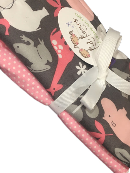 "Pink Zoology and Pink Dot, Set of 2 Burp Cloths, 10x20"" absorbent cotton Terry cloth."