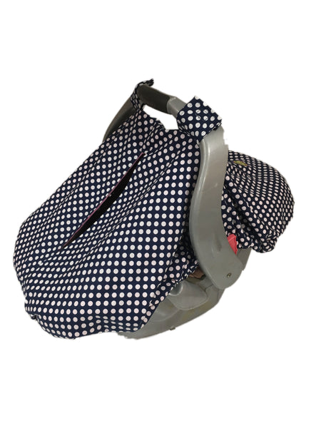Navy and White Dot Car Seat Kover with Pink Minky Interior