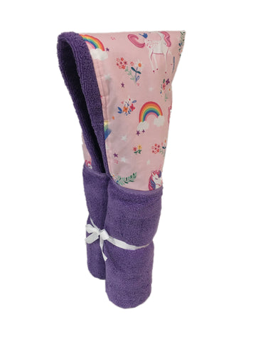 Happy Little Unicorns (and Rainbows) Lavender Hooded Towel