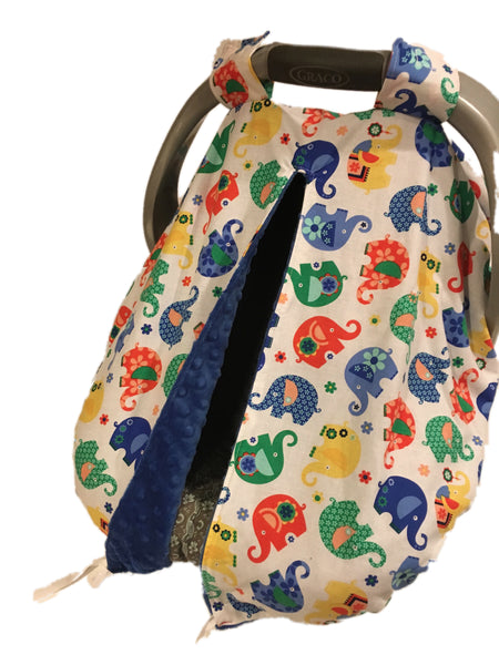 Blue Elephant Romp Car Seat Kovers with Electric Blue Minky Interior