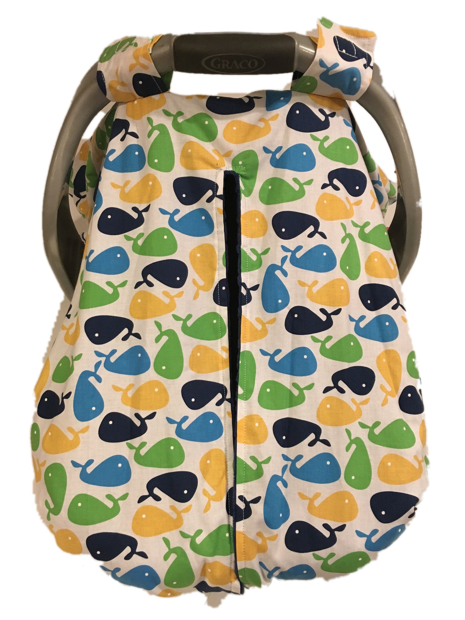Whales Car Seat Kover with navy Blue Minky Interior